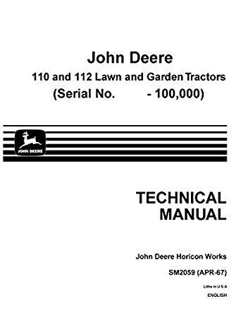 John Deere 110 Lawn and Garden Tractor Service Manual Download - John Deere  Tractors